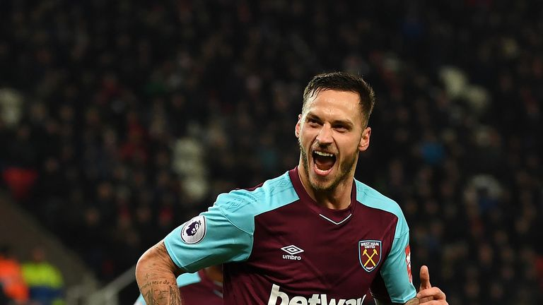 Marko Arnautovic celebrates after doubling West Ham's lead