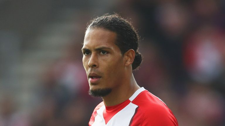 SOUTHAMPTON, ENGLAND - OCTOBER 15:  Virgil van Dijk of Southampton (17) looks on during the Premier League match between Southampton and Newcastle United a