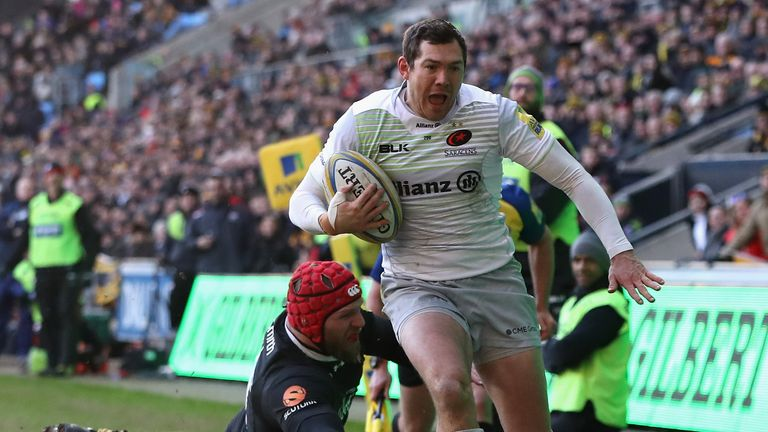 Full-back Alex Goode went over Sarries' second try