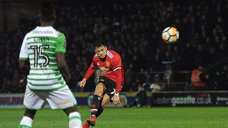 Alexis Sanchez made his Manchester United debut in the 4-0  FA Cup fourth-round win over Yeovil Town on Friday