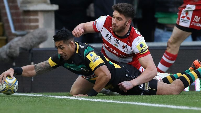 Ken Pisi dived over for the first try of the game at Franklin's Gardens