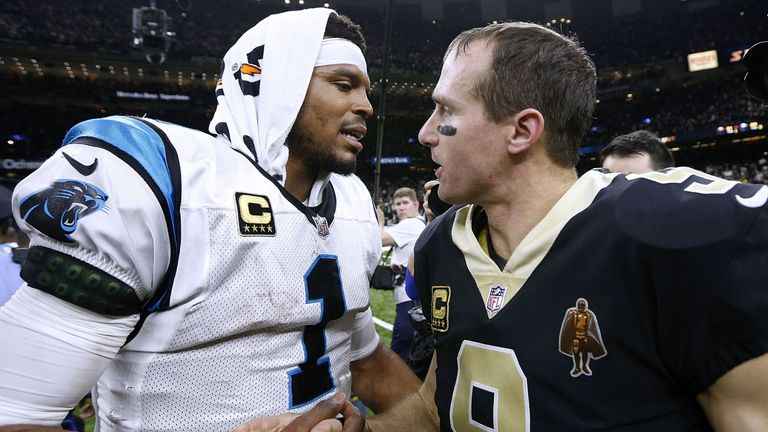 Drew Brees (right) and the New Orleans Saints got the better of Cam Newton (left)