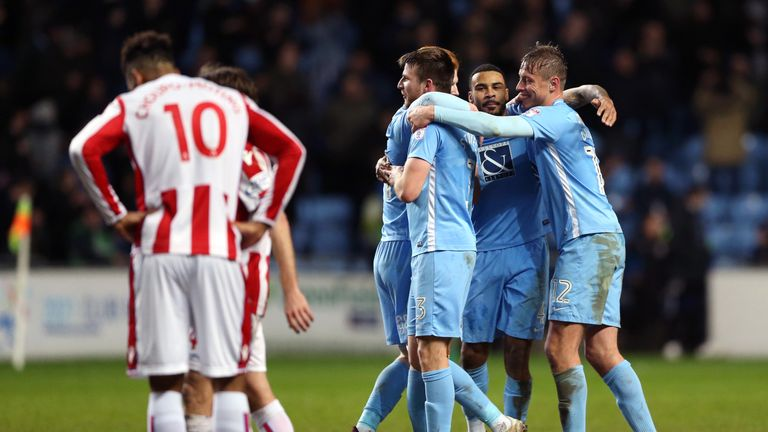 Coventry celebrate victory over Stoke in the FA Cup third round