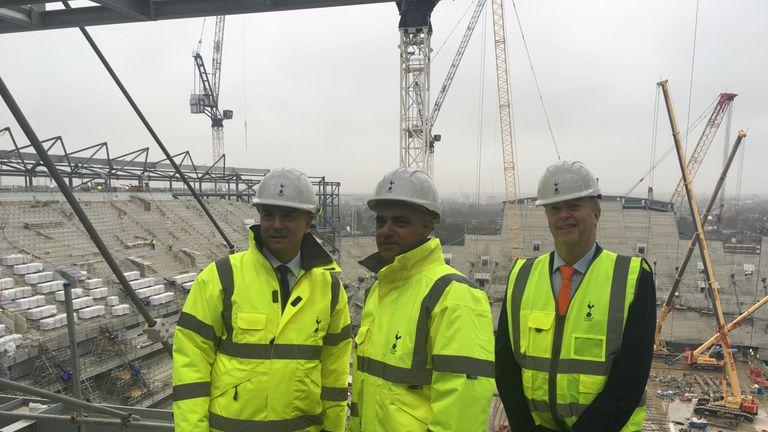 Daniel Levy, Sadiq Khan and Mark Waller surveyed progress on the new ground on Thursday