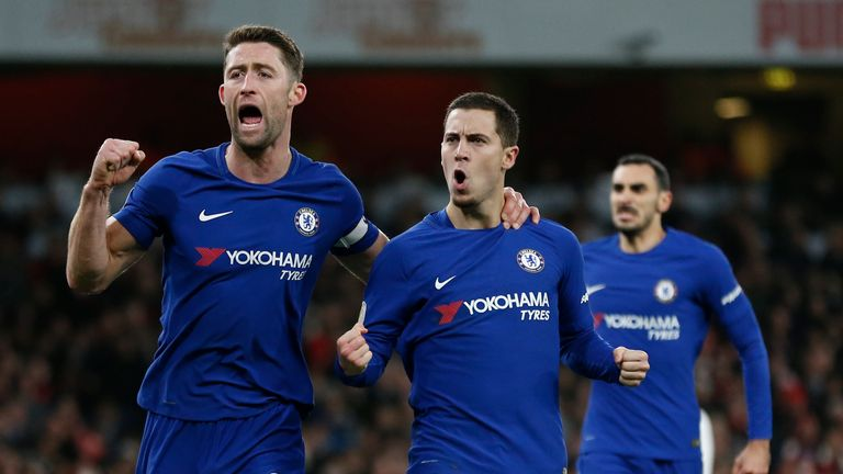 Eden Hazard celebrates with Gary Cahill after making it 1-1 at the Emirates Stadium