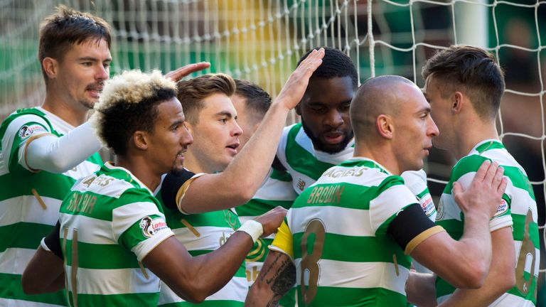 Celtic's James Forrest (centre) celebrates his goal with his team-mates