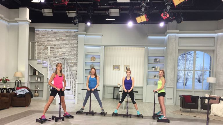 An unusual exercise session for Francesca Summers (right) and her family on TV!