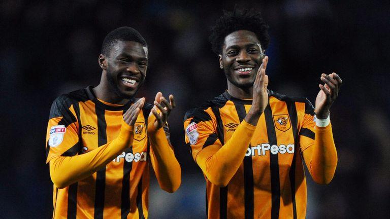 Fikayo Tomori and Ola Aina of Hull City celebrate at full-time