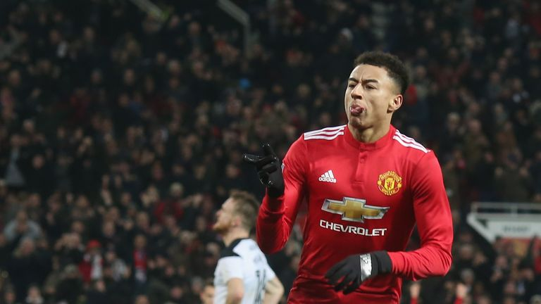 Jesse Lingard opened the scoring for Manchester United late on against Derby
