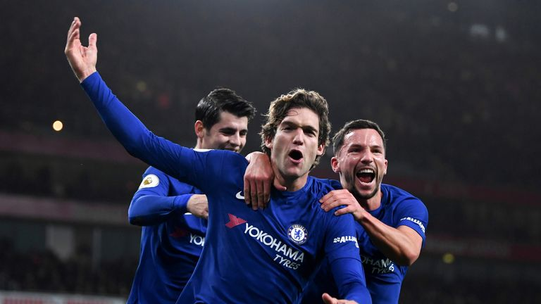 Marcos Alonso celebrates scoring Chelsea's second goal with Danny Drinkwater and Alvaro Morata