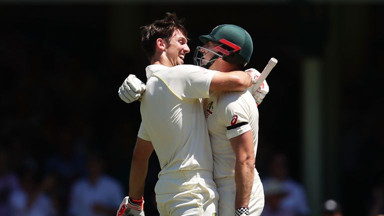 The Marsh brothers celebrate Mitchell's century at the SCG