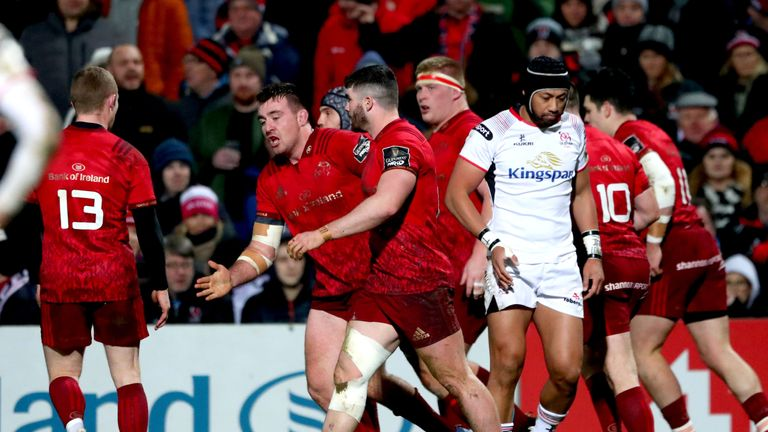 Scannell celebrates as Munster score their second try through another rolling maul