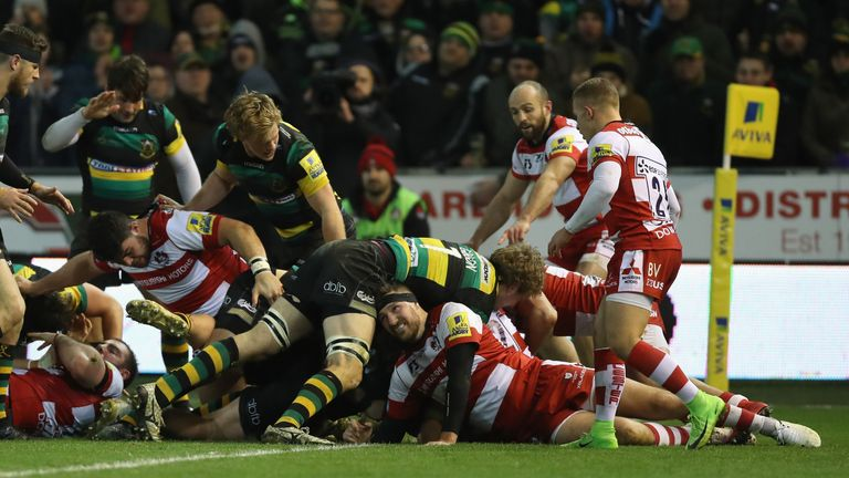 The Northampton pack secured a penalty try to clinch the game at the last