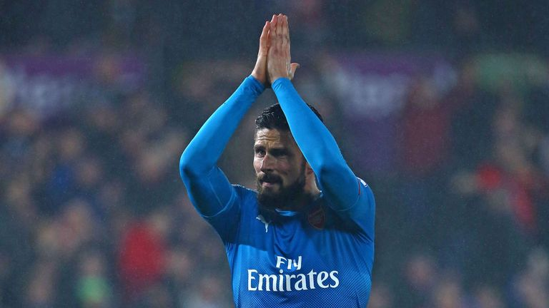 Olivier Giroud made a point of applauding the Arsenal fans following their defeat to Swansea