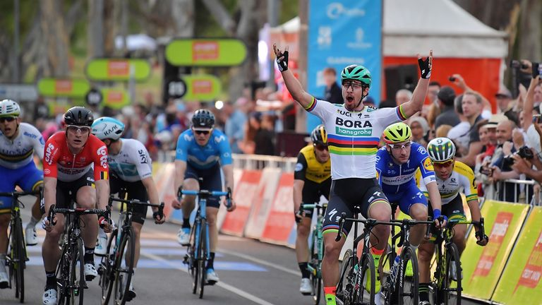 Peter Sagan celebrates victory in the People's Choice Classic