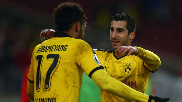 Aubameyang and Mkhitaryan played alongside each other at Borussia Dortmund