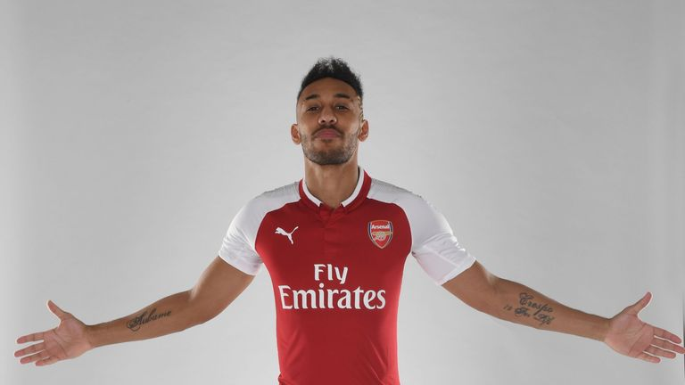 Aubameyang was unveiled as an Arsenal player on Deadline Day
