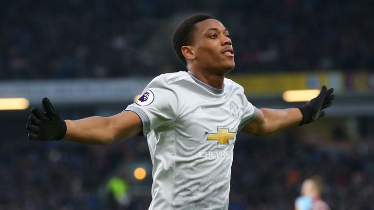 Anthony Martial celebrates after scoring the first goal of the game
