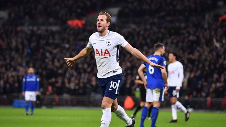Harry Kane celebrates after scoring Tottenham's third goal