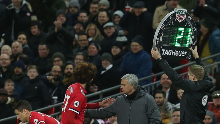 Marouane Fellaini lasted just seven minutes against Spurs at Wembley