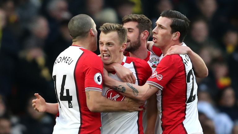 James Ward-Prowse is congratulated by team-mates after making it 1-0