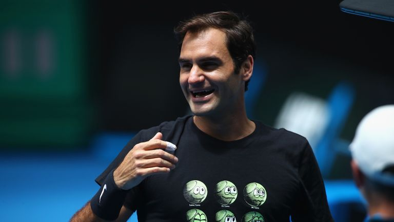 Roger Federer is all smiles ahead of the Australian Open