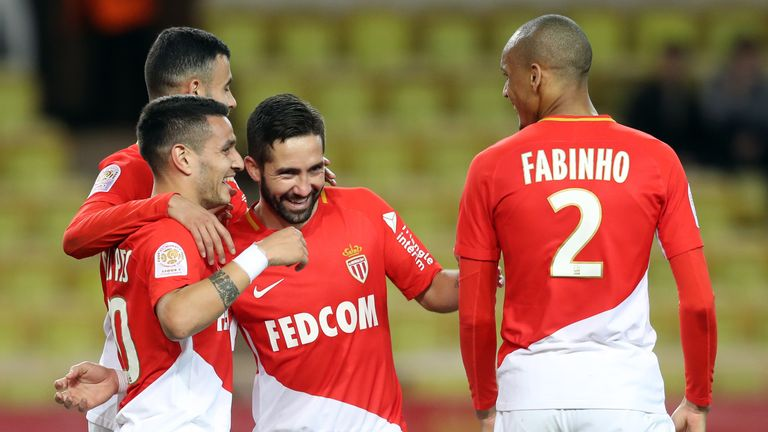 Monaco midfielder Rony Lopes celebrates with team-mates after scoring against Bordeaux