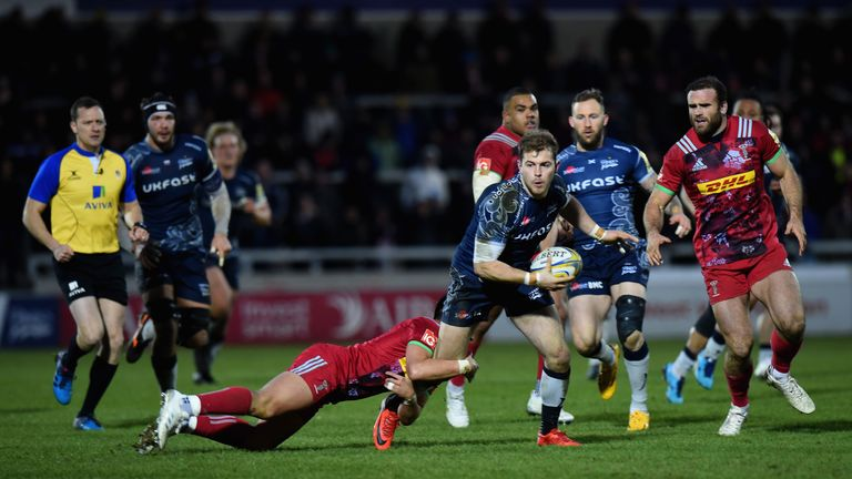 Sale Sharks on the attack at the AJ Bell Stadium against Harlequins