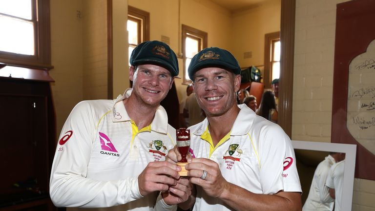 Steve Smith and David Warner celebrate Australia's Ashes success over England this winter