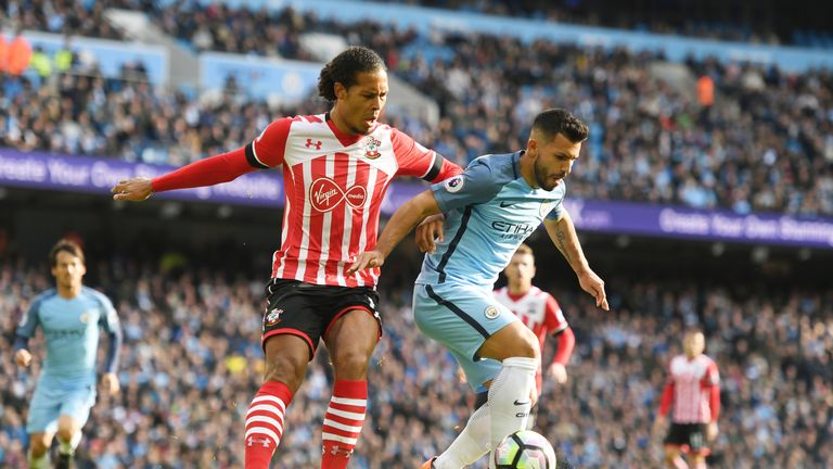Aguero has managed just one shot on target in three matches against Van Dijk
