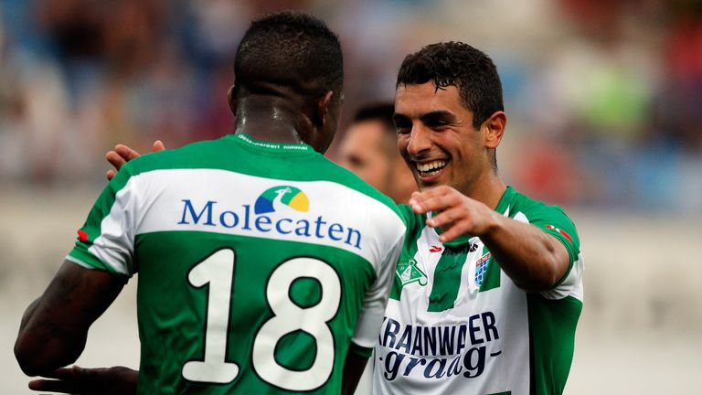 Youness Mokhtar (right) is congratulated after scoring his winner against NAC Breda