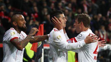 James Rodriguez celebrates after scoring for Bayern Munich against Bayer Leverkusen