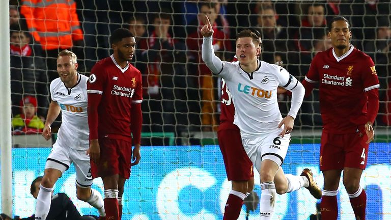 Swansea City's English defender Alfie Mawson (2nd R) celebrates after scoring the opening goal of the English Premier League football match between Swansea