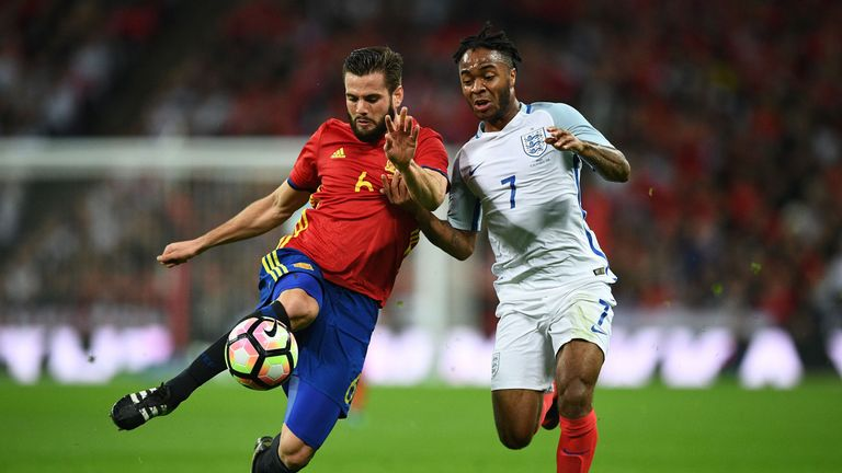 Nacho and Raheem Sterling in action during the international friendly match between England and Spain at Wembley Stadium on November 15, 2016