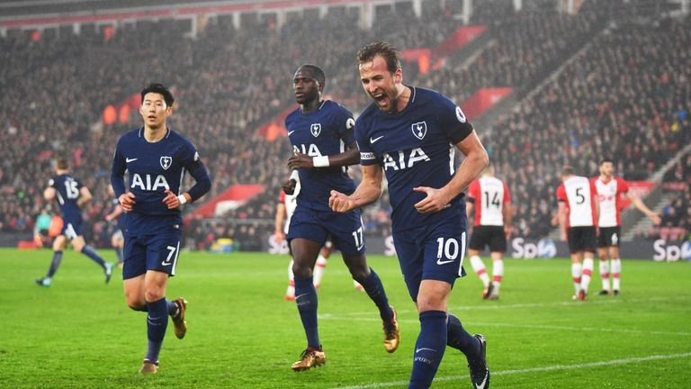 Harry Kane celebrates after equalising for Spurs