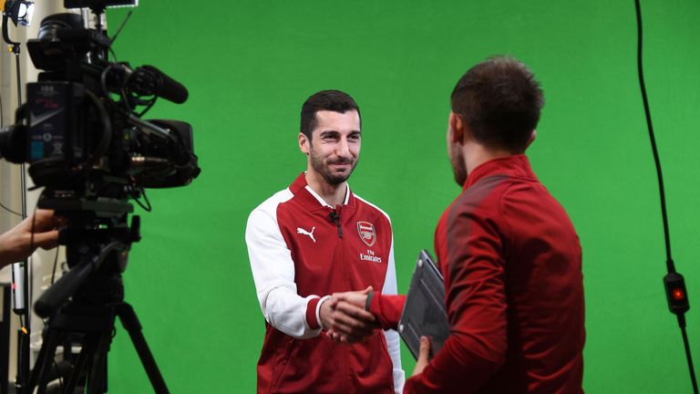 ST ALBANS, ENGLAND - JANUARY 22: Arsenal Unveil New Signing Henrikh Mkhitaryan at London Colney on January 22, 2