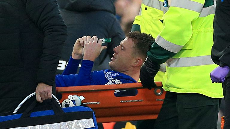 Everton's James McCarthy leaves the field on a stretcher after picking up anm injury during the Premier League match at Goodison Park, Liverpool.