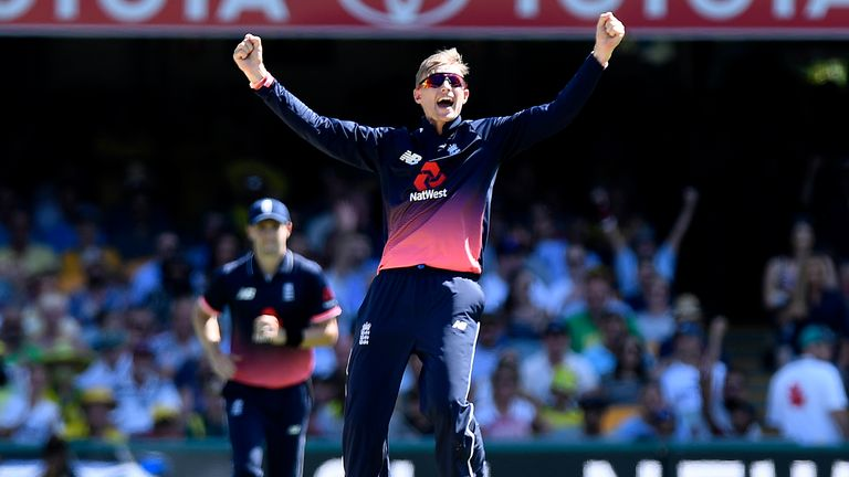 Joe Root of England celebrates taking the wicket of Steve Smith of Australia during game two of the One Day International