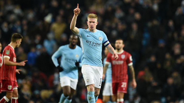 Kevin De Bruyne celebrates after scoring Manchester City's first goal during the Carabao Cup semi-final first leg v Bristol City
