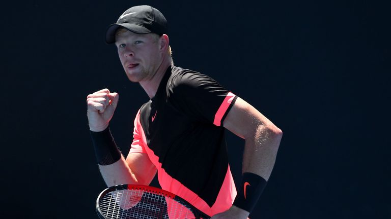 Kyle Edmund of Great Britain celebrates winning a point in his second round match against Denis Istomin of Uzbekistan