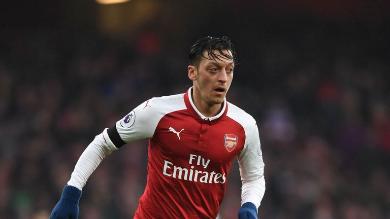 Mesut Ozil of Arsenal during the Premier League match between Arsenal and Crystal Palace at Emirates Stadium on January 20, 2018
