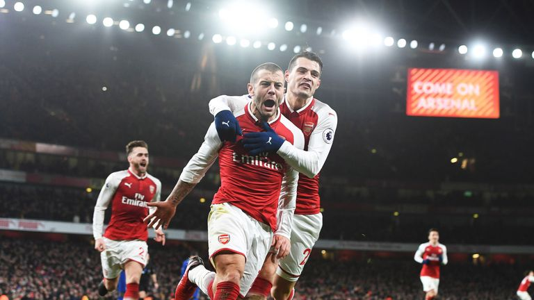 Jack Wilshere celebrates his goal with Grait Xhaka during the Premier League match between Arsenal and Chelsea at Emirates Stadium