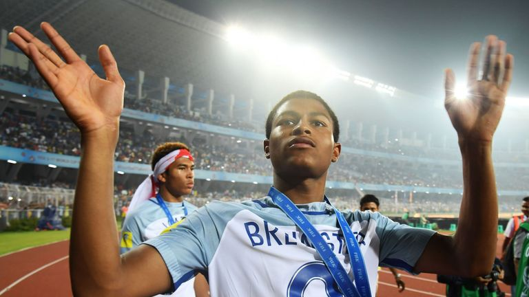 Rhian Brewster celebrates winning the golden boot for the highest scorer after England's win over Spain in the final FIFA U-17 World Cup