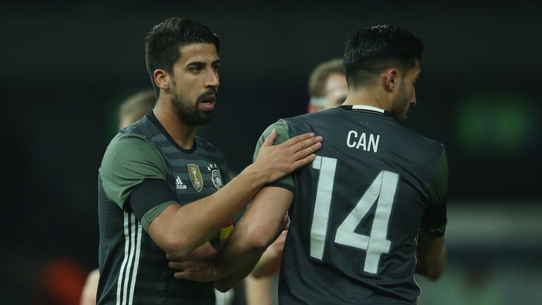 Sami Khedira and Emre Can on international duty with Germany