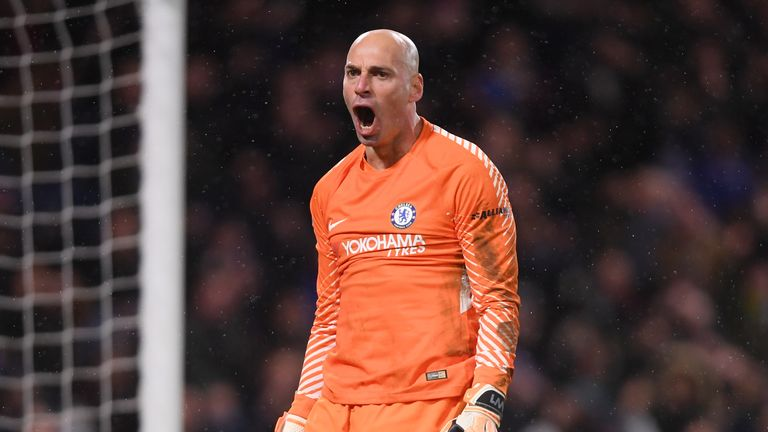 LONDON, ENGLAND - JANUARY 17:  Willy Caballero of Chelsea celebrates after saving a penalty from Nelson Oliveira of Norwich City during The Emirates FA Cup