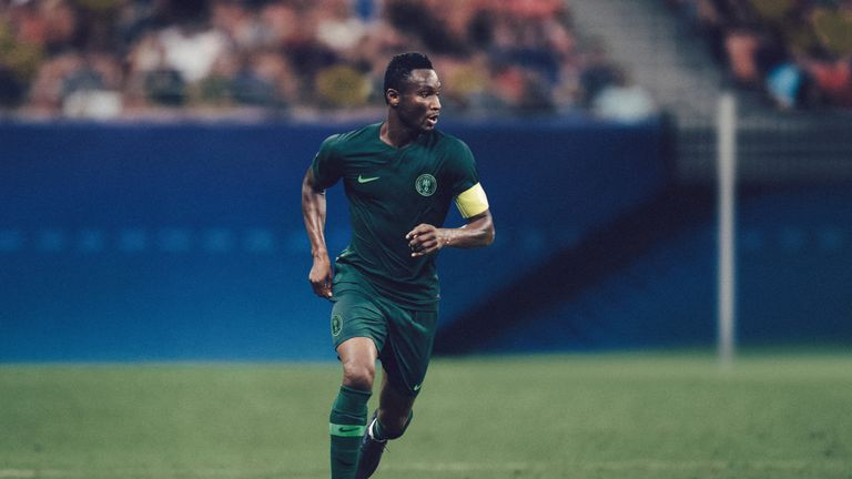 John Obi Mikel wearing Nigeria's 2018 away kit