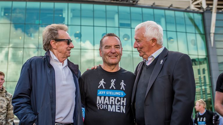Denis Law, Jeff Stelling and Mike Summerbee on the March for Men