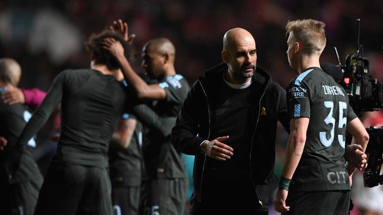 Guardiola congratulates Zinchenko after the semi-final win over Bristol City