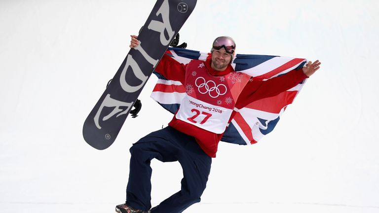 Morgan celebrates during the victory ceremony after the men's big air final