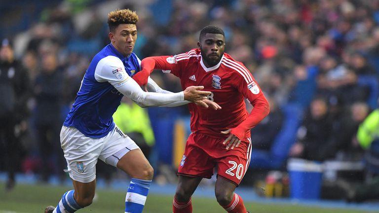 Birmingham City's Jeremie Boga battles with Sheffield Wednesday's Liam Palmer